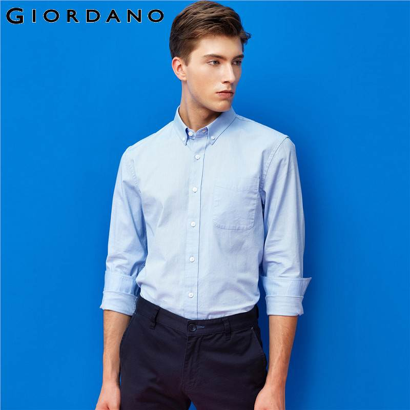 Giordano Men Shirt Oxford Textile Single Pocket Shirts Long Sleeves Stretchy Casual Shirts Male Tops  Hombre Clothes