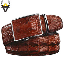 Fashion Men's belts Luxury Genuine leather Crocodile designer Automatic Belt man buckle Real Cow skin Wide girdle for Jeans male(China)