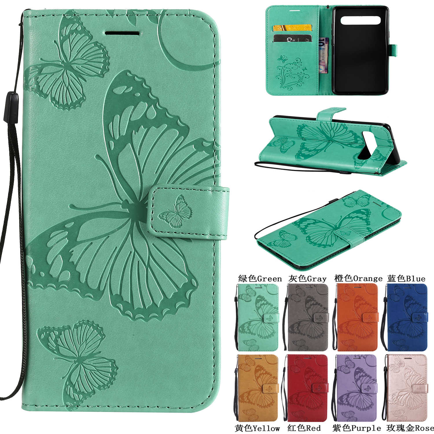 For Samsung Galaxy S10 5G A10 20 30 40 50 70 8S Flip Leather Card Case for Galaxy M10 20 30 3D Embossed Butterfly PU Phone Cover