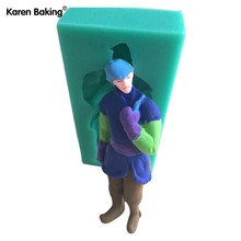 New Arrival Carton Man Figure Silicone Mold Cake Decoration Fondant Cake 3D Food Grade soap Moulds- C433