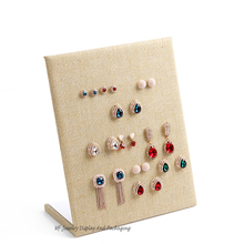 Free Shipping Yellow Linen Earring Display Stand  Ear Studs Studs  Holder  Earring Showcase Stripe Earrings Display Board