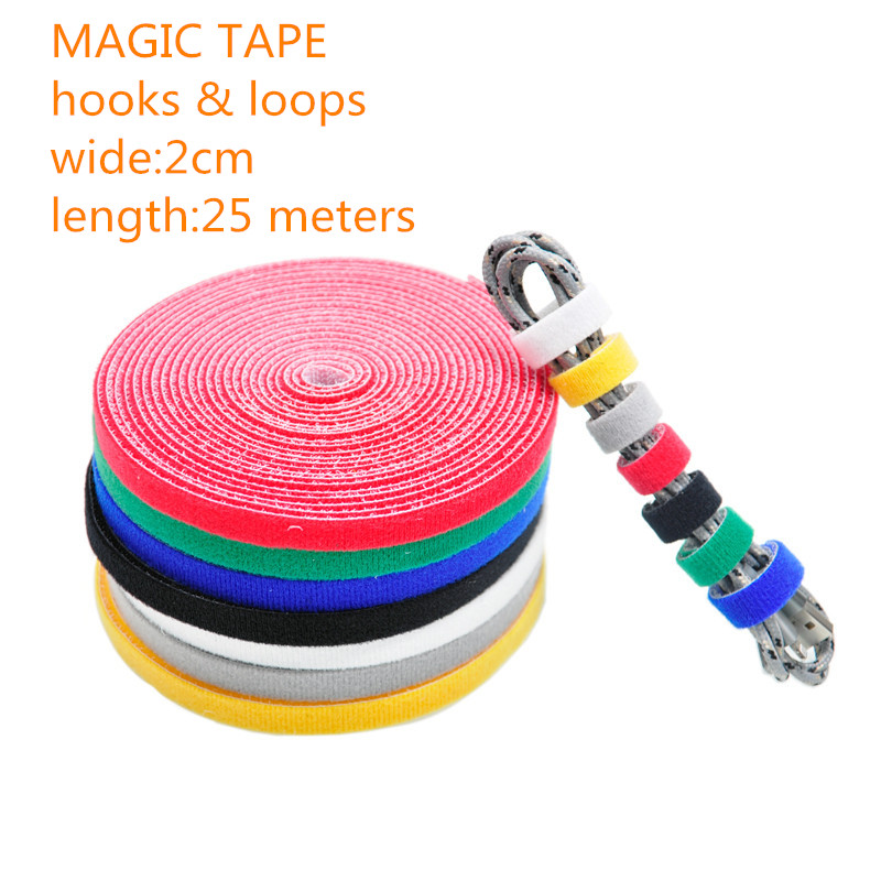 1PCS/LOT YT1885  Magic Tape Strap Cable Tie Wide 2 cm Length 25 Meters Nylon strap hooks &amp; loops Free Shipping Sell at a Loss <br>