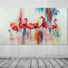 Large Handpainted Modern Abstract Ostrich Animal Oil Painting On Canvas Ostrich Art Wall Picture For Living Room Home Decoration(China)