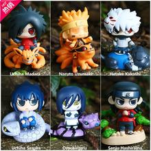 Naruto Cosplay Hatake Kakashi Uchiha Sasuke 8.5cm/3.3'' Q Version Boxed PVC Action Figures Toys Model Garage Kit 6Pcs/Set