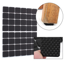 48Pcs/Lot Black Non-slip Self Adhesive Floor Protectors Furniture Sofa Table Chair Rubber Feet Pads to Protect Tables Leg Square