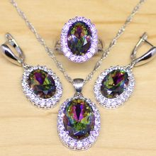 Mystic Rainbow Fire Cubic Zirconia Jewelry Set Women 925 Sterling Silver Jewelry Wedding Earrings/Pendant/Necklace/Rings T002(China)
