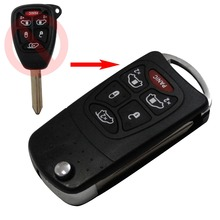 Keyless Entry Flip Folding 6 Buttons Flip folding  Remote Key Case Shell for Chrysler Town and Country Dodge Grand Caravan Jeep