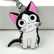 2017 new big cute kawaii pink metal cat key chain ring anime keychain alloy keyring lovely lucky Bag Accessory charm women girl