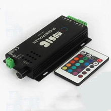 DC12V 24V  6A Sound Activated Music Controller with 24key IR Remote Control 144W 2 Ports Output for RGB LED Strip Lights