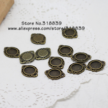 40pcs/lot Antique Bronze Metal Alloy 10mm Cabochon Pendant Settings Jewelry Pendant Blanks Fit Photo Jewelry Making 2916(China)