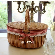 Wicker Picnic basket handmade storage cassette cover steamed willow baskets woven straw fruits basket for gardening and shopping(China)