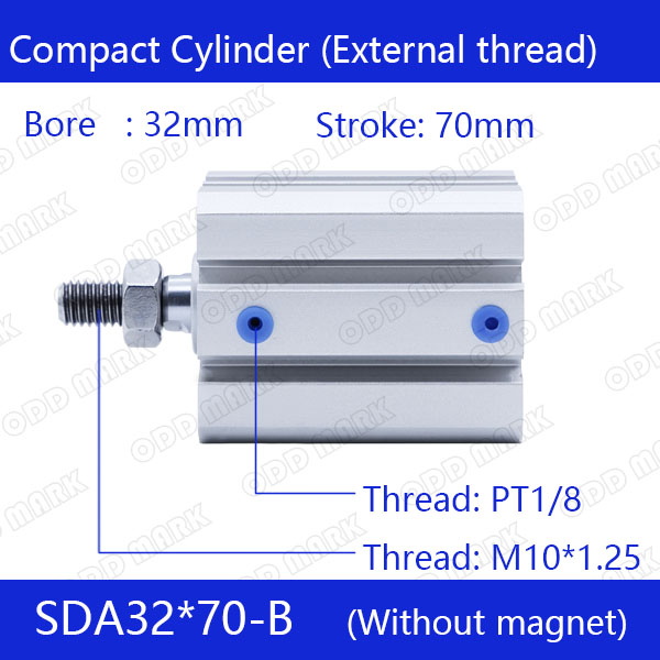 SDA32*70-B Free shipping 32mm Bore 70mm Stroke External thread Compact Air Cylinders  Dual Action Air Pneumatic Cylinder<br>