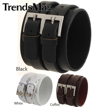 Trendsmax 51MM Wide Mens Womens Brown white black Man Made Leather Bracelet Wristband 2 Buckle Clasps Adjustable Promotion LBM19