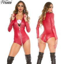 Buy M-XXL Gothic Faux Leather Bodysuit Zipper Open Crotch Latex Wetlook Catsuit Leotard Pole Dance Clothing Latex Jumpsuits