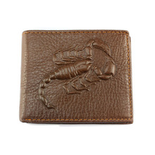 Scorpion pattern leather short two-fold wallet money clip Leather Wallets personality cowhide Man purse Men's leather bags