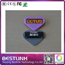 mini moving sign led name badge heart-shaped yellow color led name tag business card rechargeable nameplate