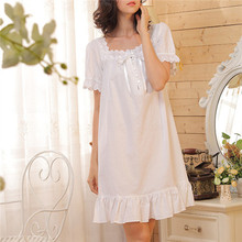 2017 Brand Sleep Lounge Women Sleepwear Cotton Nightgowns Sexy Indoor Clothing Home Dress White Nightdress Plus Size #P3