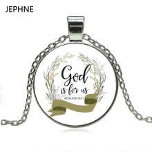 JEPHNE Romans 8 31 God is for us Bible Verse Necklace Glass Tile Charm Inspirational Fashion Jewelry Women Men Christian Gifts