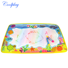 Coolplay 59x36cm multicolor rainbow water drawing mat with 2 pen aqua doodle mat rug for painting Xmas gift for kids CP2323-2