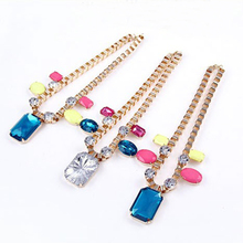 New Fashion Imitation Gemstone Pendant Necklace Chain Necklaces Colors for Women N1328 N1329 N1330