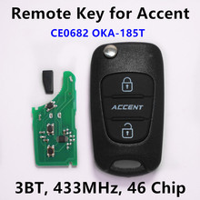 Remote Flip Car Key for Hyundai ACCENT 2011+ Keyless Entry Fob Car Controller 3 Buttons 433MHz ID46 Chip