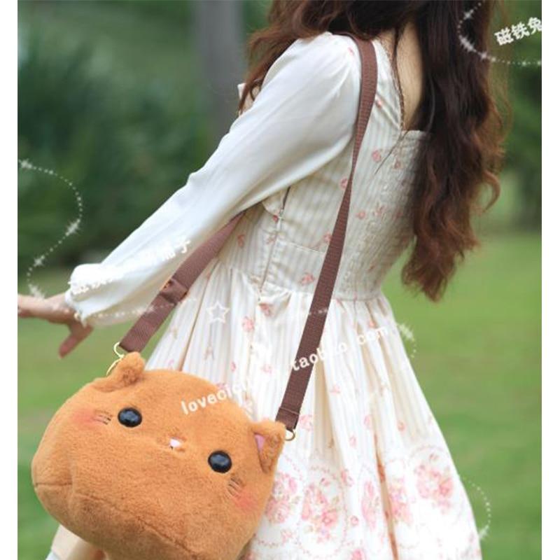 NEW Arrival Multipurpose Women Cute Handbag Lolita Plush Cat Women Messenger Bag Crossbody Bags <br>