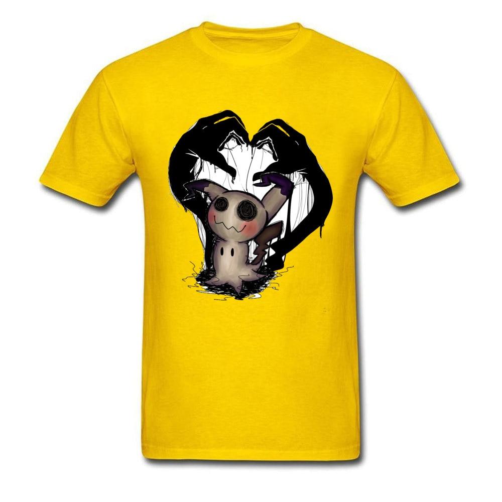 Unique Tshirts Funny Round Neck Pokemon-Mimikyu-0624 100% Cotton Men Tees Slim Fit Short Sleeve Tshirts Drop Shipping Pokemon-Mimikyu-0624 yellow