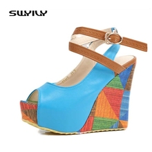 2017 Summer Platform Ankle Cross Strap Women Sandals High Heels Pump Small Size 33 Sweet Peep Toe Wedge Shoes Woman 5 Colors(China)