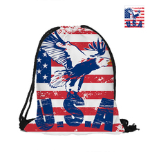 USA Banner Drawstring Backpack For Beach School Shopping Women Men Pouch Backpack Eagle Print Shoulder Bag Polyster Backpack(China)