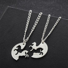 2PC Running Horse Puzzle Necklace Gifts For Best Friend Women Men Friendship Pendant Necklaces Silver Plated Charm(China)