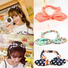 2017 New Girls Bowknot Headbands Korean Style Rabbit Ears Lady Women Fabric Hairbands Holders Accessories Fashion Free Shipping