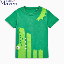 Little maven kids brand clothing 2017 new summer fashion baby boys clothes t shirt Cotton crocodile dinosaur printing brand tops(China)