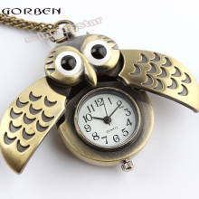 Unique antique fashion alloy vivid owl pocket watches pendent necklace P27