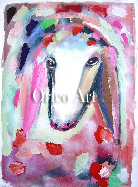 Hand Painted Reproduction Animal Oil Painting on Canvas for Room Decor Color Sheep Head Menashe Kadishman Art Imitation Painting32