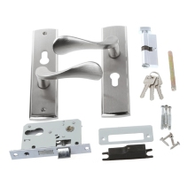 Modern Aluminum Alloy Indoor Dual Latch Room Door Panel Security Locks Handle + Key L15
