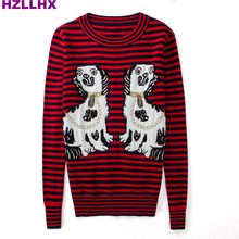 HZLLHX women dark red black Striped gold thread 2 dogs jacquard sweater ladies puppy knit top fall autumn jumper high version