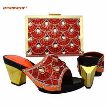 Orange color slip on mother gift 2017 Italian shoes and bags matching set with bead decoration sector diagram square bag(China)