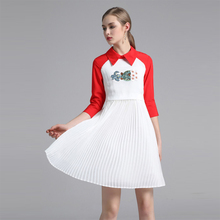 2018 New Pretty Embroidery Women Pleated Dress European High Quality Half Sleeve Turn-down Collar Patchwork Female Slim Dress(China)