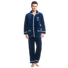 THREEGUN Winter Flannel Men Pajamas Sets of Sleep Plaid Tops & Bottoms Male Flannel Warm Thermal Home Clothing Pijama Homme(China)