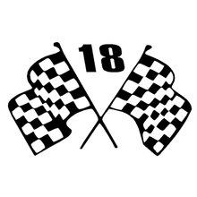 15.2CM*9.4CM Racing Flags - 18 Race Car Fun Sticker Finish Line Sports Car Stickers Car Styling Accessories Black Sliver C8-0576