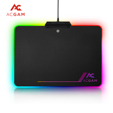 Original Black ACGAM P09 RGB Illumination 9 kinds of LED Colors lighting mode USB 2.0 Hard Gaming mouse pad,13.8x9.8x0.14 inch(China)