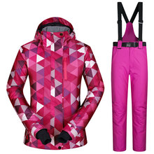 Ski Suit Female Windproof Waterproof Thicken Clothes For Women Snowboard Jacket And Pants Brand Coat And Trousers Winter Wear(China)