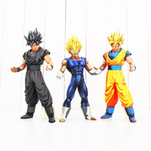 27CM Anime Figure Dragon Ball Z Blonde hair son goku The Vegeta Scale Painted Black goku PVC Action Figure Collectible Model Toy(China)