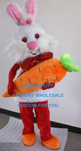 2015 Newest Design Easter Bunny Rabbit Mascot Costume With Carrot Adult Size Cartoon Character Holiday Costume SW1215