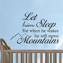 Let Him Sleep Baby Boy Will Move Mountains Wall Decal Sticker Quote Vinyl Home Decoration