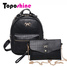 Toposhine 2017 Stone New Women Backpacks Black Cute Fashion PU Leather Lady Backpack Quality Fashion Girls School Bag 6691