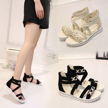 2017 New Arrival Women Flat Shoes Summer Soft Leather Leisure Ladies Sandals Jelly Sandals Chain Flat Bottomed Out Door Sandals