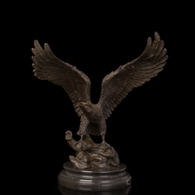 Arts Crafts Copper Durable Casting Crafts Flying Glede Vintage Brass Eagle Sculpture Bronze Statue With Marble Base Hawk Figurin