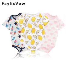Summer Baby Cotton Romper Lemon Heart Printed Jumpsuit Infant Costumes Outfit Newborn Pajamas Girl Boy Overall Clothes Roupas