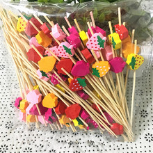 100pc Strawberry Food Picks fruit fork Sticjavascrks Buffet Cupcake Toppers Cocktail forks Wedding Festival Decorations birthday(China)